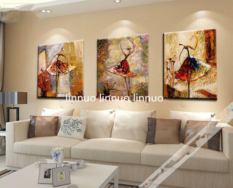 3pcs Hand painted Oil Canvas Wall Art Home Decor abstract
