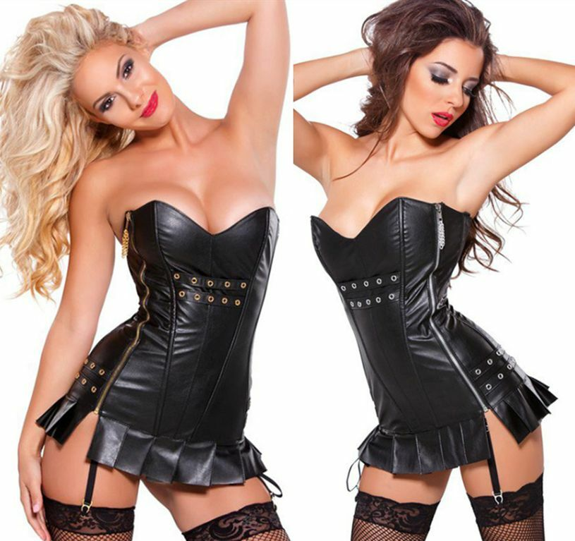 Corselette With Garters: Womens Sexy Black Faux Leather Lace Up Oberbust Corset
