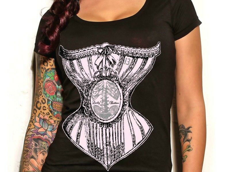 Womens lucky 13 bone corset scoop neck punk tattoo goth for Gothic neck tattoos