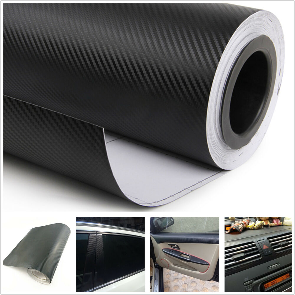 3d car interior accessories interior panel black carbon fiber vinyl wrap sticker ebay. Black Bedroom Furniture Sets. Home Design Ideas