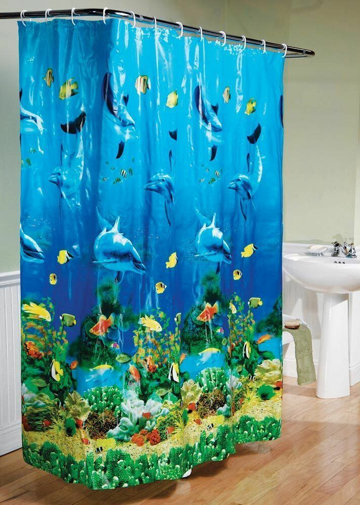 Tropical beach dolphin sea life fish bathroom shower curtain blue ocean w hooks ebay