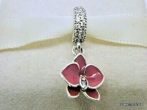 New  Authentic Pandora Charm Orchid Charm  791554en69 P