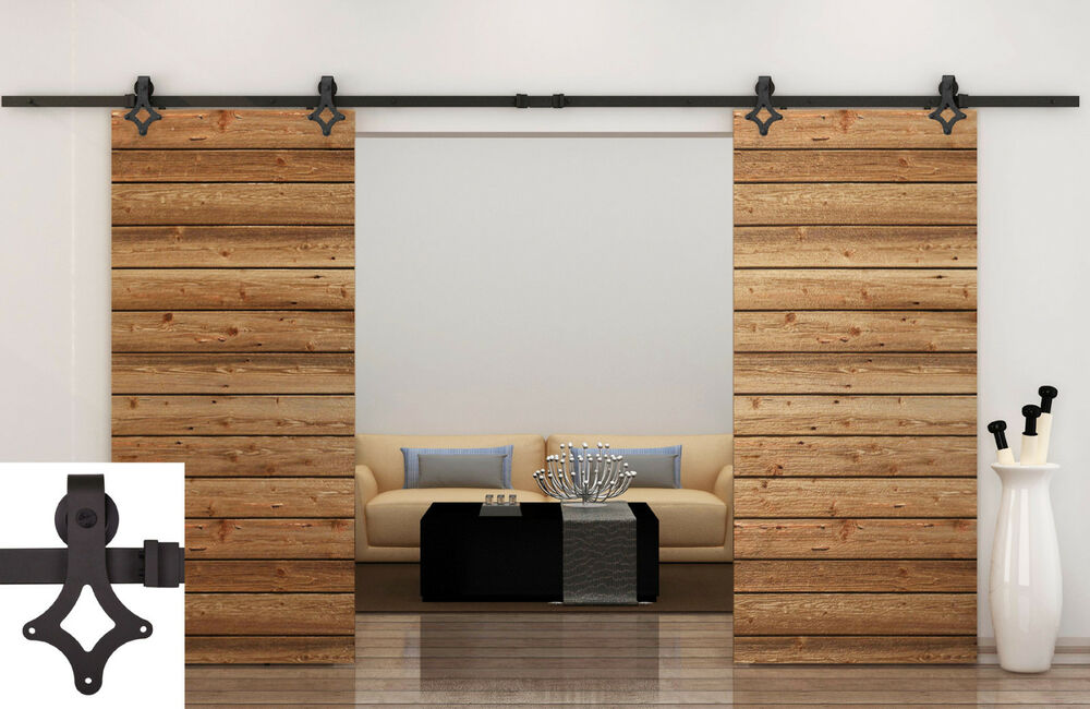 12ft dark coffee country barn double wood steel sliding for Sliding double doors