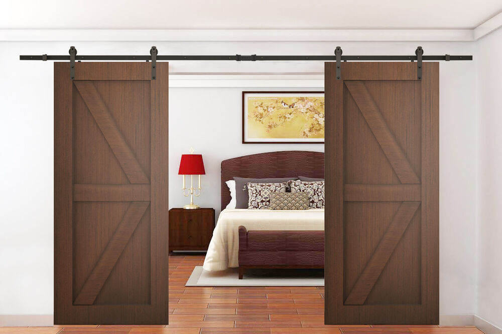 12ft dark coffee antique style double sliding barn wood for 12 foot sliding barn door hardware