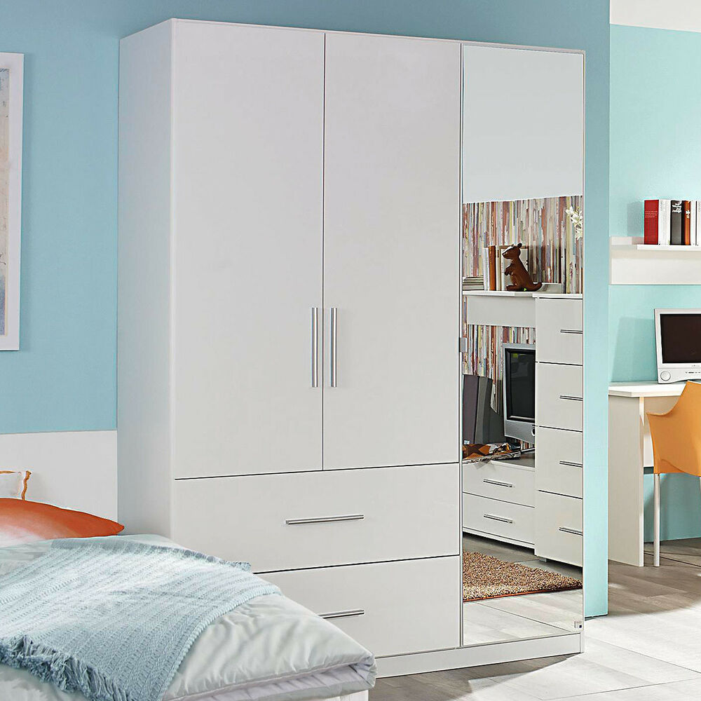 kleiderschrank manja kinderzimmer jugendzimmer wei hochglanz b 136 cm ebay. Black Bedroom Furniture Sets. Home Design Ideas