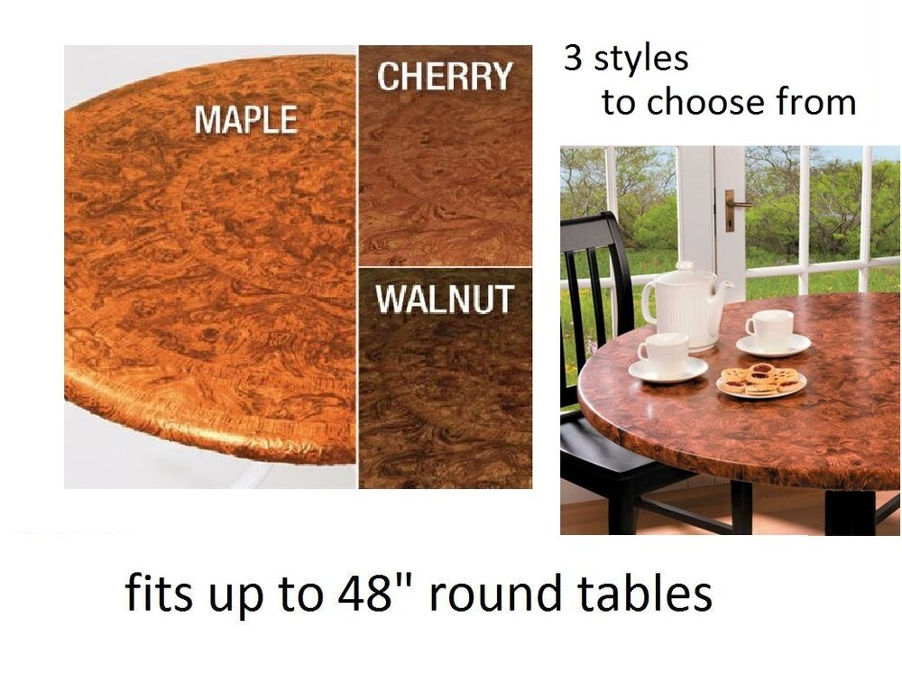 1 Elastic Vinyl Faux Burled Wood Indoor Outdoor Round