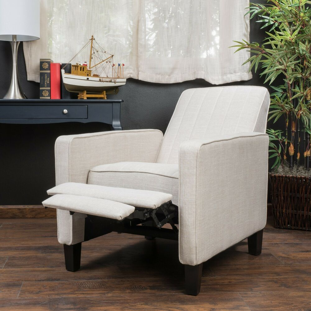 Living Room Furniture Light Beige Fabric Club Chair Recliner Ebay