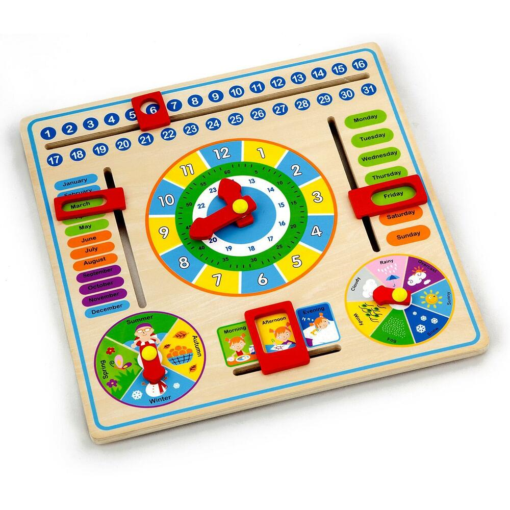 Wooden Learning Toys : Childrens kids wooden calender clock educational learning