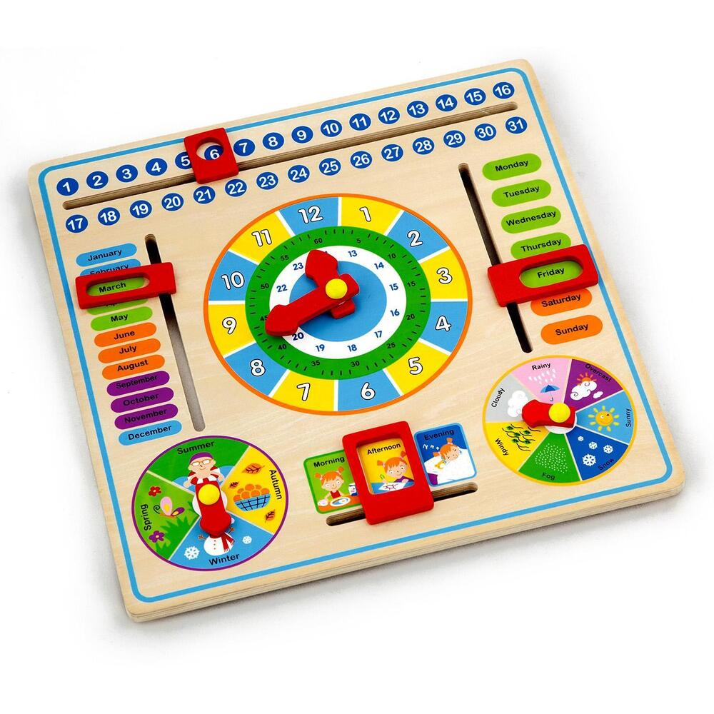 Childrens/Kids Wooden Calender Clock Educational Learning ...