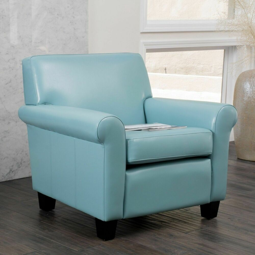 Living room furniture teal blue leather club chair ebay for Blue living room chairs