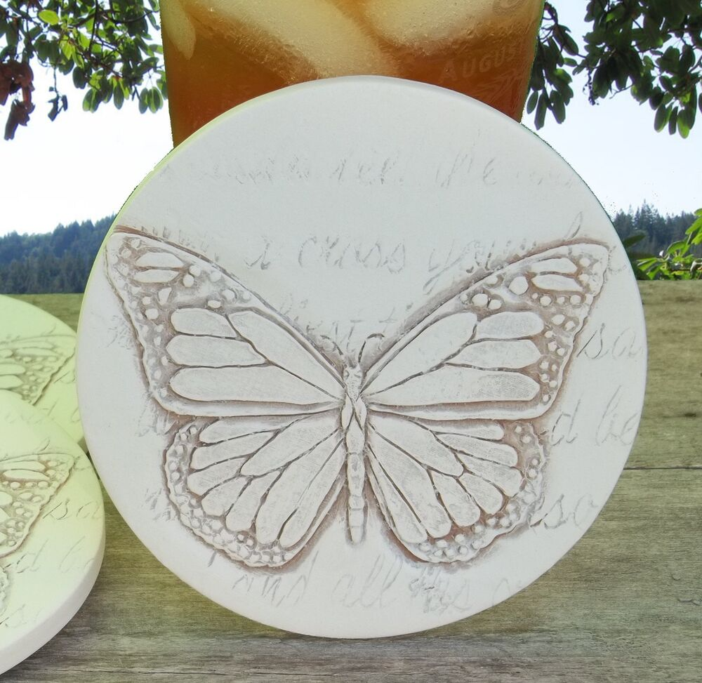 Clay drink coasters butterfly absorbent drink coasters set of 4 ebay - Drink coasters absorbent ...