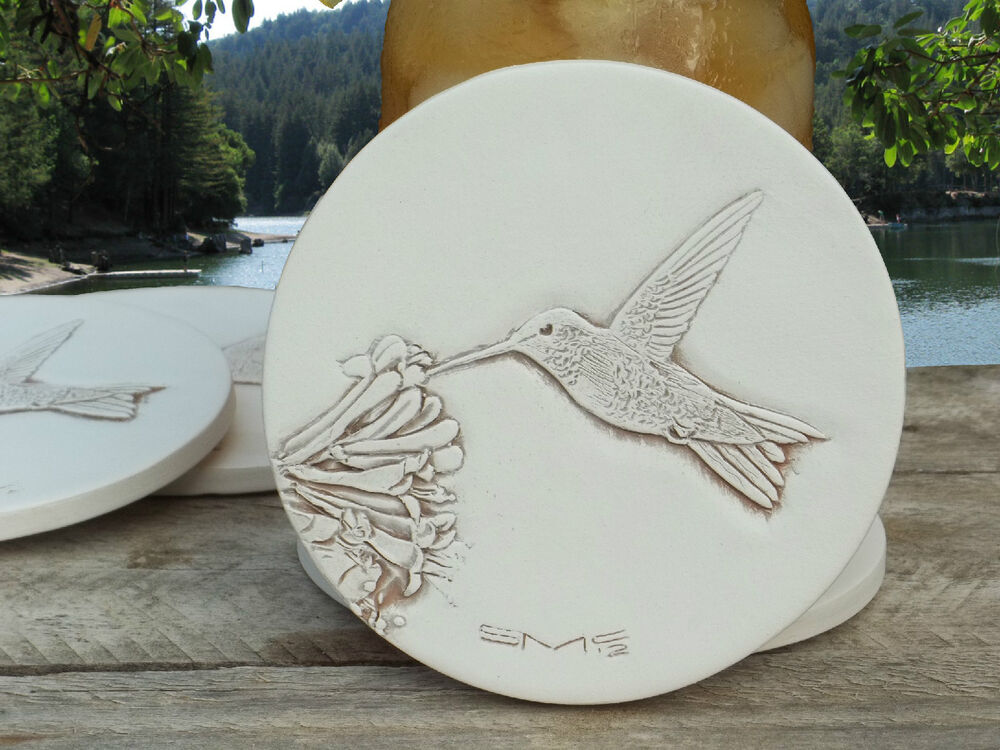 Hummingbird absorbent drink coasters set of 4 light beige large size ebay - Stone absorbent coasters ...