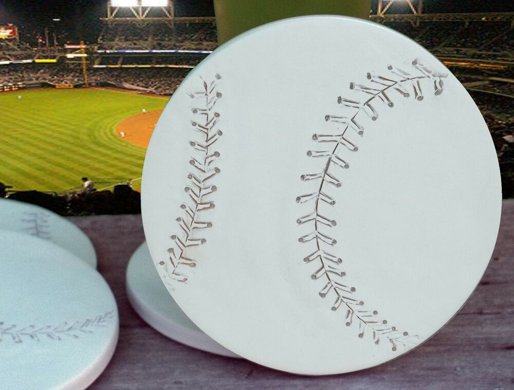 Clay drink coasters baseball absorbent drink coasters set of 4 ebay - Drink coasters absorbent ...