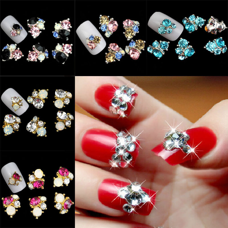 3d metallic rhinestones crystal diamond gems tips diy nail for 3d nail art decoration