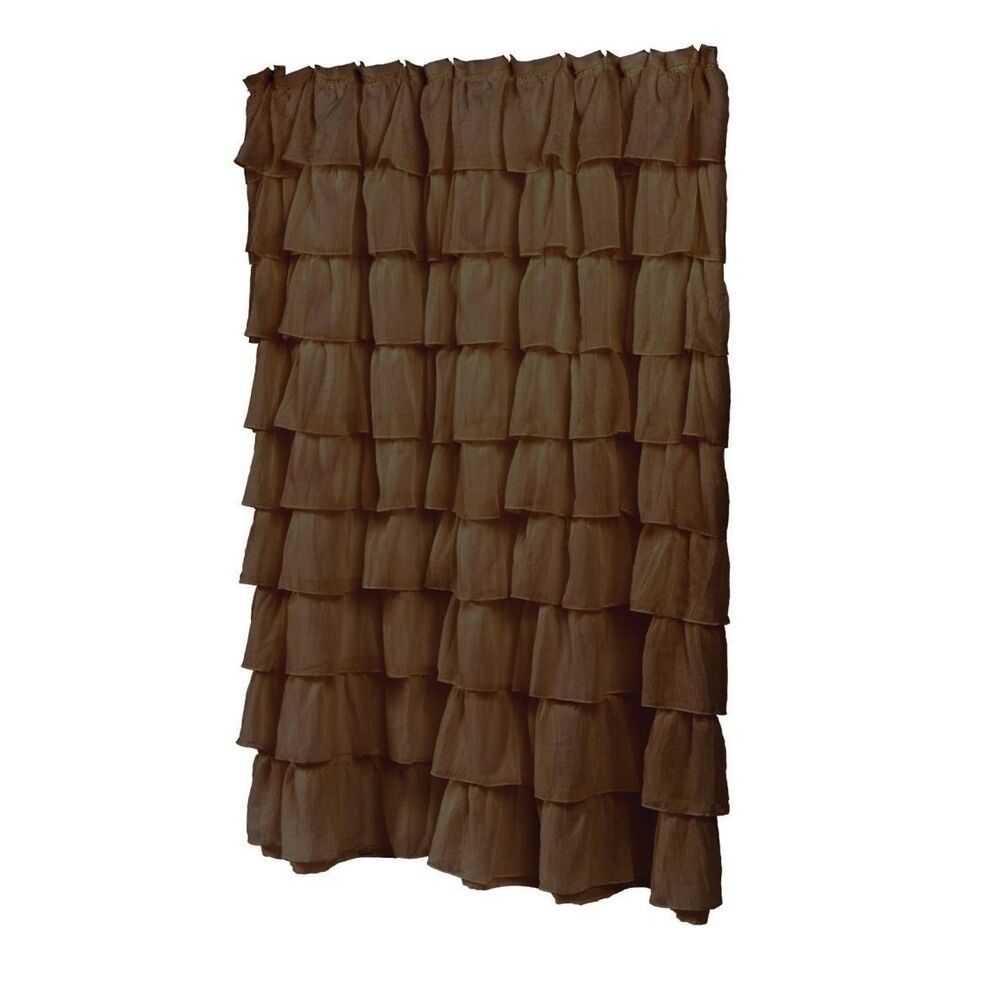 Brown And White Striped Curtains Lush Decor Ruffle Shower