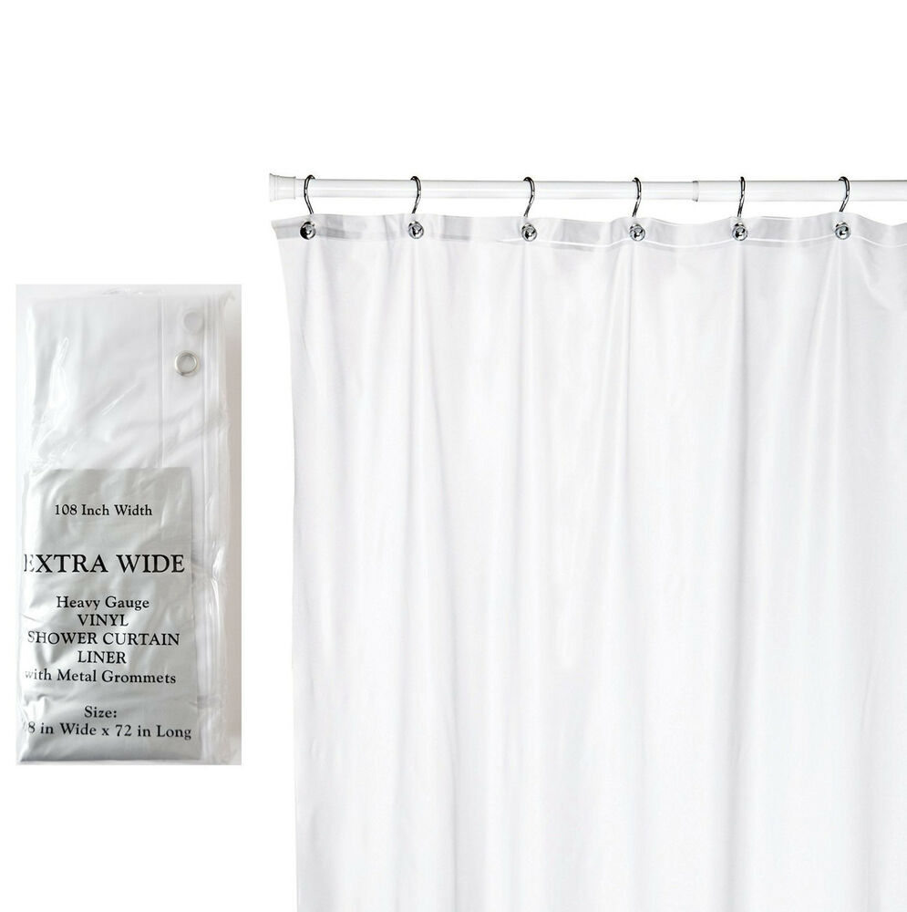 Extra Wide 5 Gauge Vinyl Shower Curtain Liner W/metal