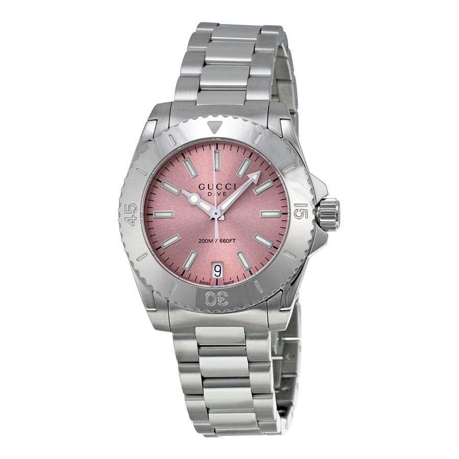 gucci dive medium pink stainless steel