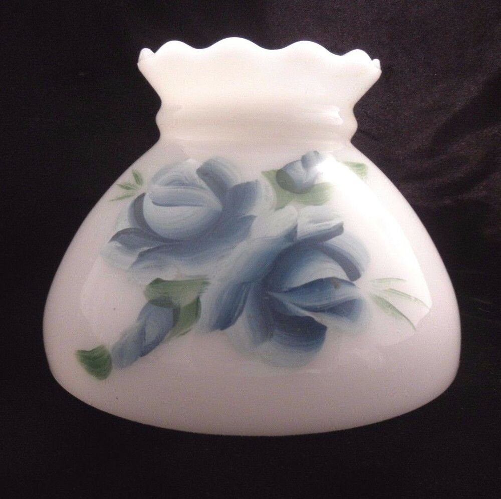 Hand Painted Lamp Shades: Lamp Shade Ruffled Globe Milk Glass Hand Painted Blue