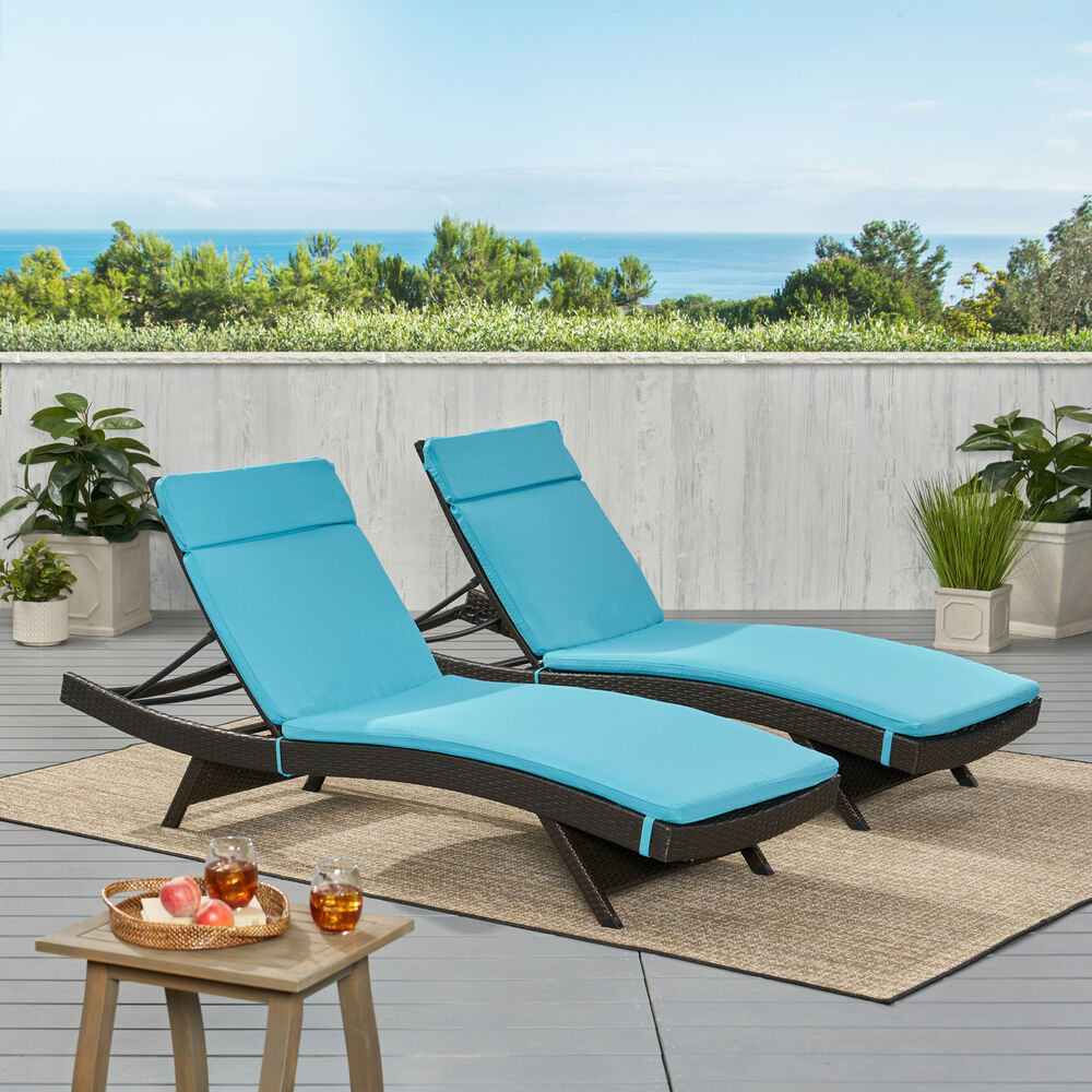 Set Of 2 Blue Cushion Pads For Outdoor Patio Chaise Lounge Chairs Ebay