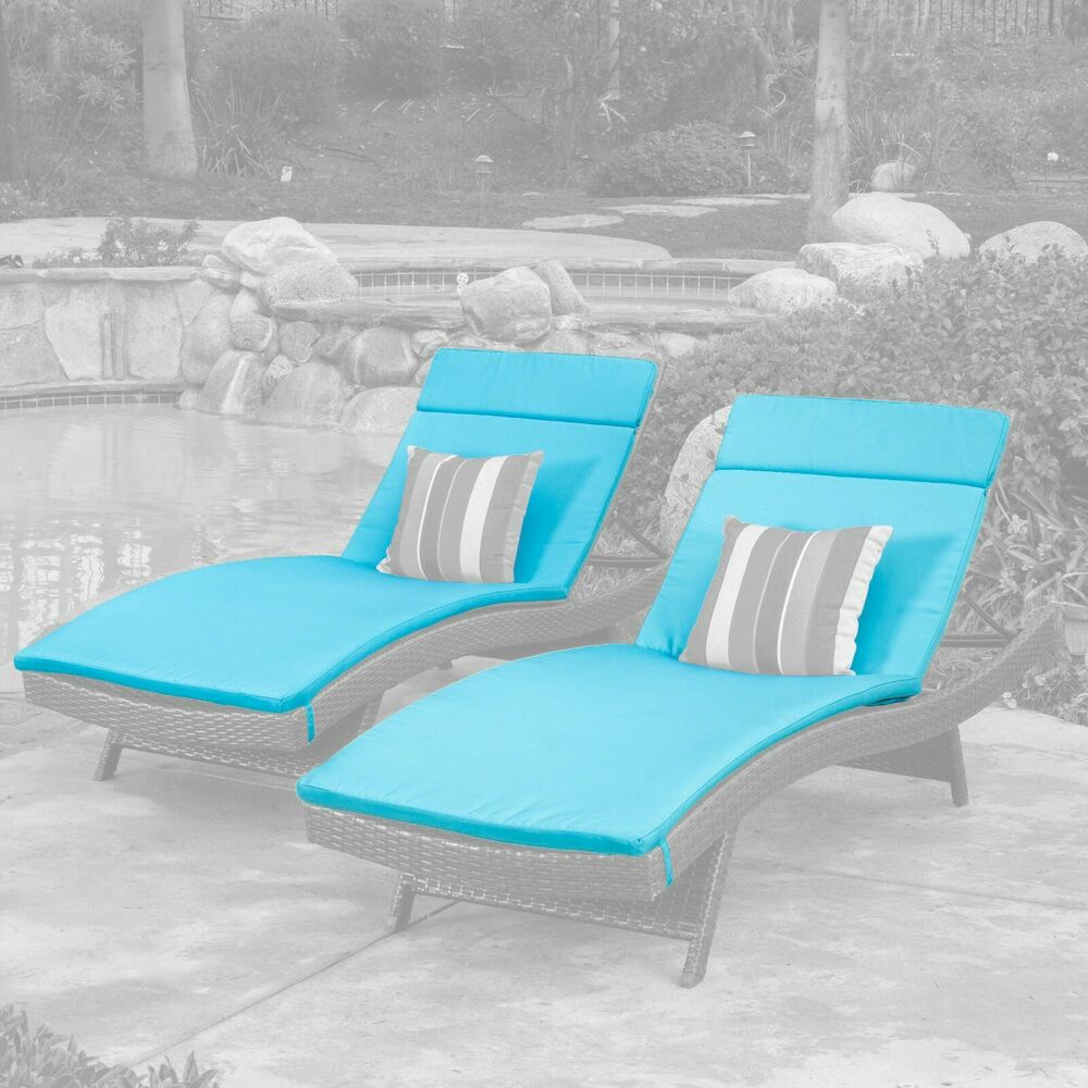 Set of 2 blue cushion pads for outdoor patio chaise for Blue outdoor chaise lounge