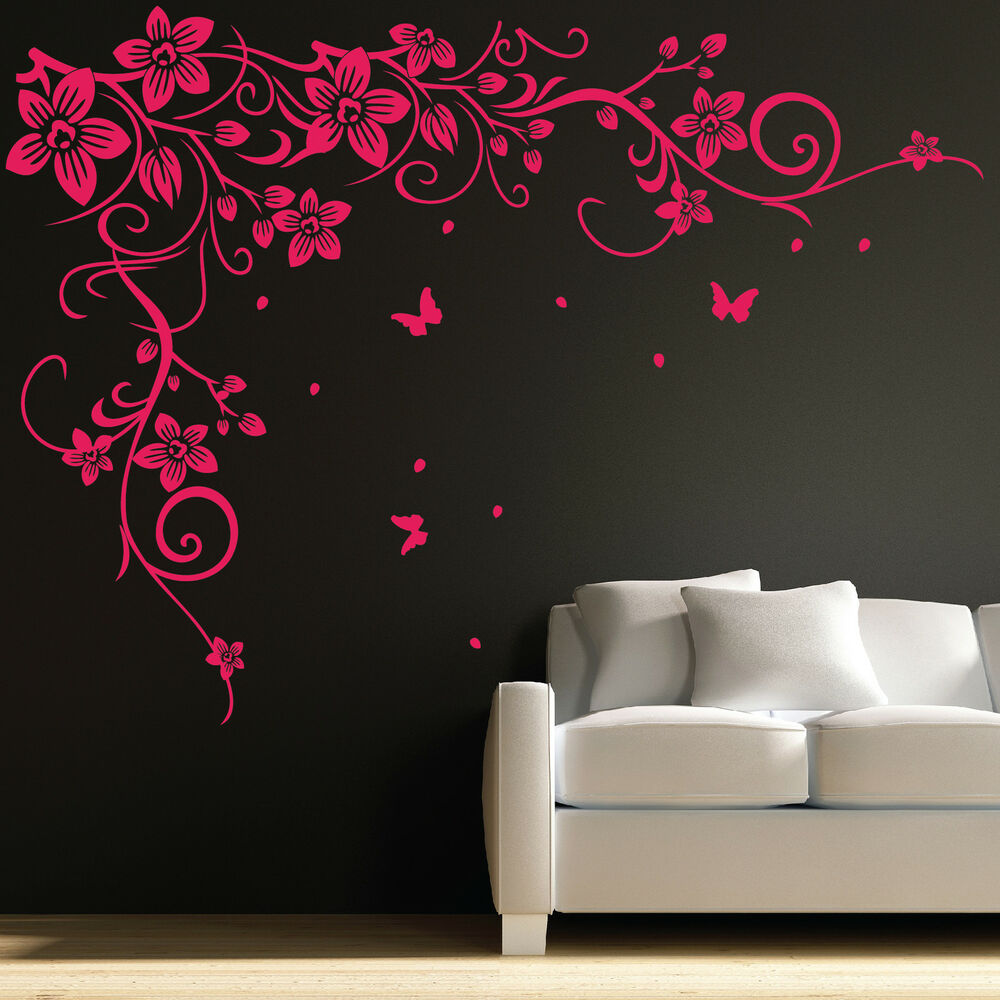 Butterfly Vine Flower Wall Art Stickers, Decals 031 | eBay