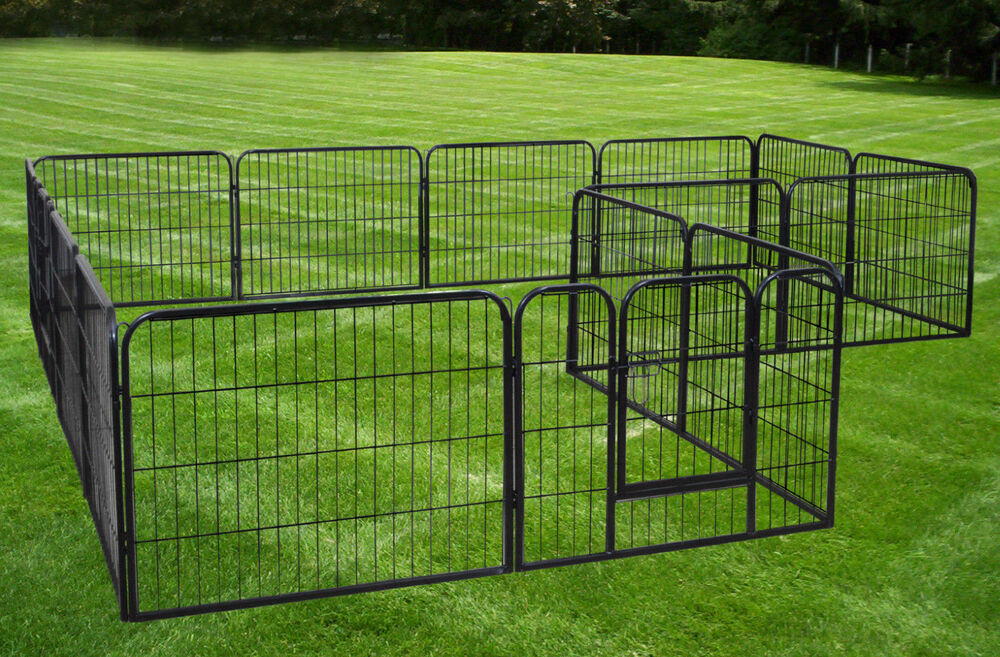 large 16 panels pet dog cat metal exercise barrier fence playpen kennel yard new ebay