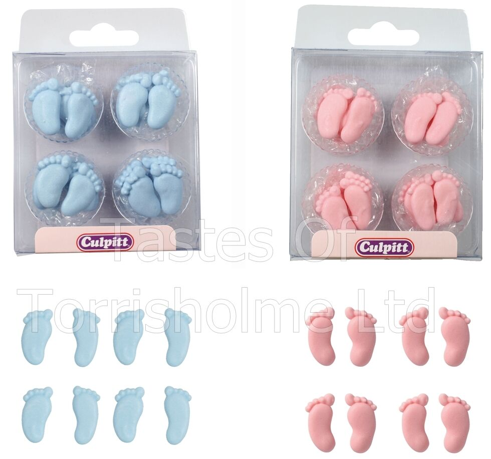 24 culpitt edible baby feet cupcake cake decorations for Baby footprints cake decoration