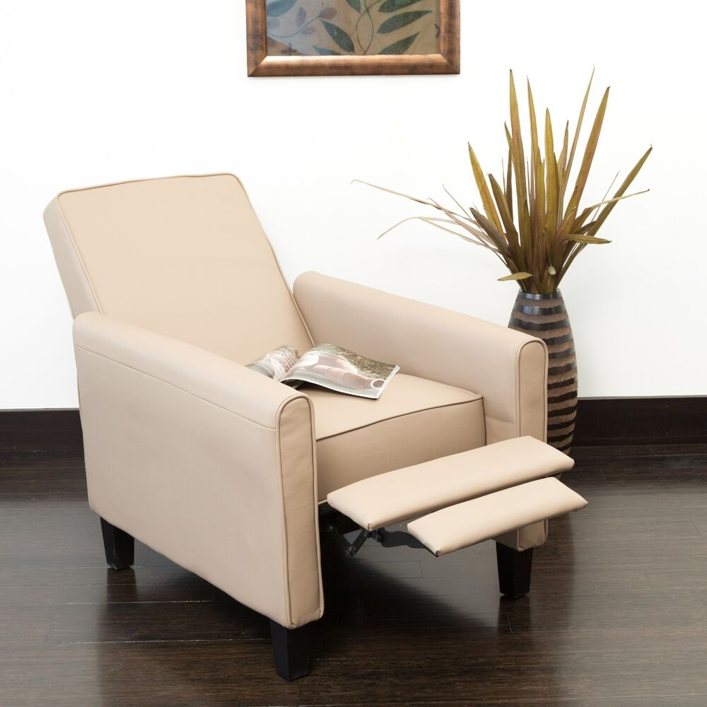 Living Room Contemporary Camel Leather Recliner Club Chair EBay