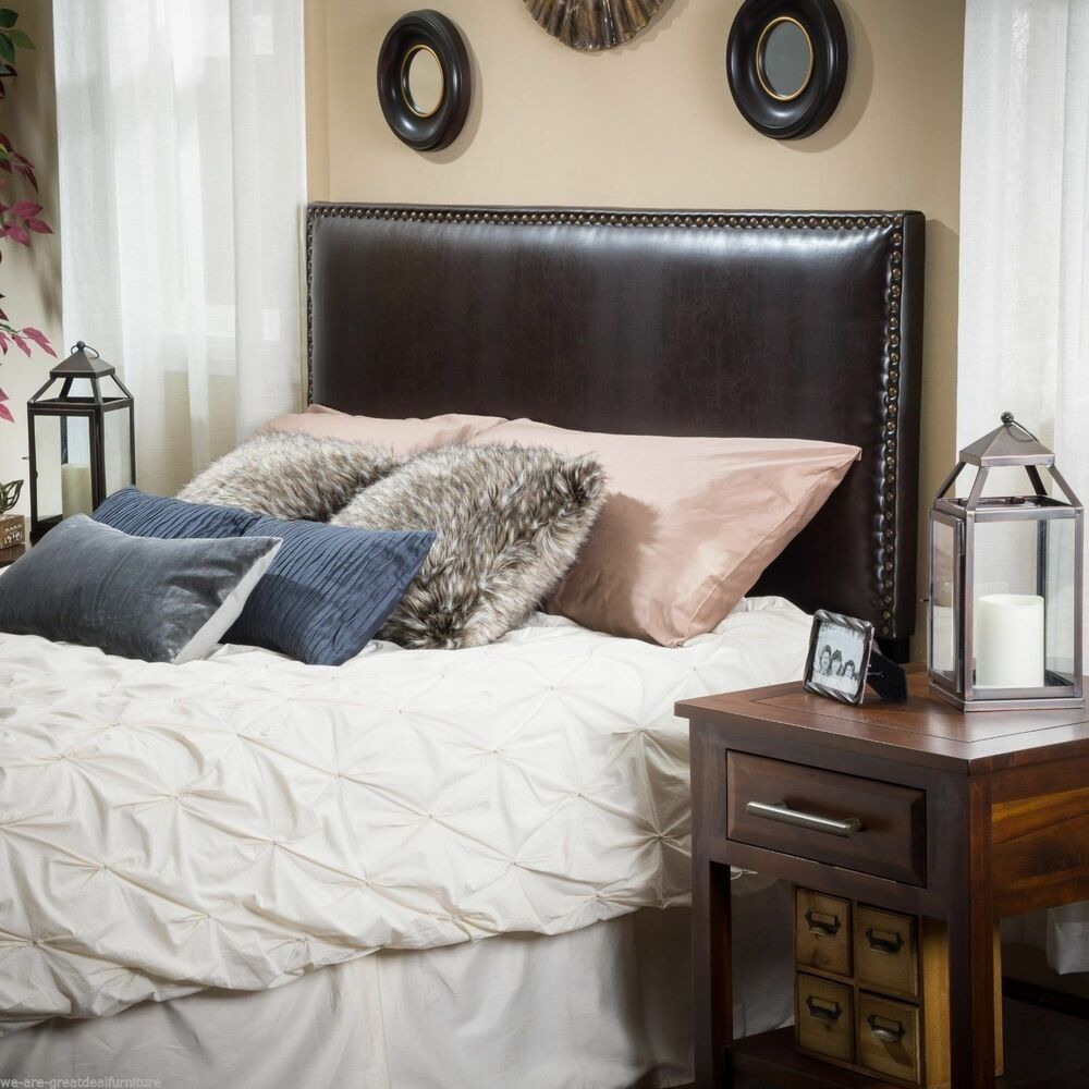 Bedroom Furniture King To Cal King Brown Leather Headboard Ebay