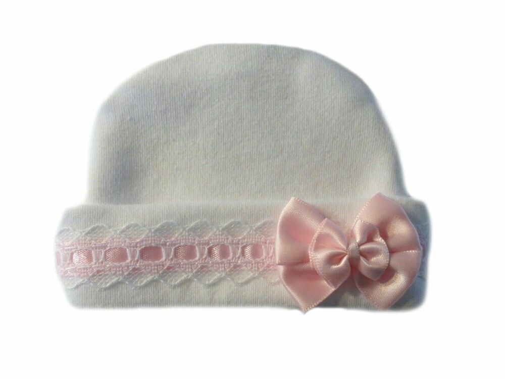 Baby Girls Lovely White Baby Hat With Pink Lace Preemie