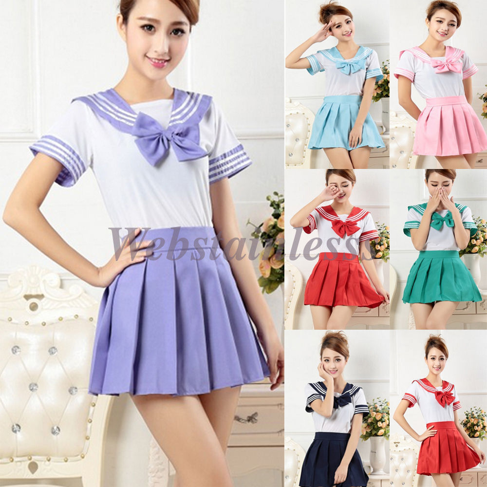 Japanese School Girlu0026#39;s Dress Outfit Sailor Uniform Cosplay Costume Fancy Dress | EBay