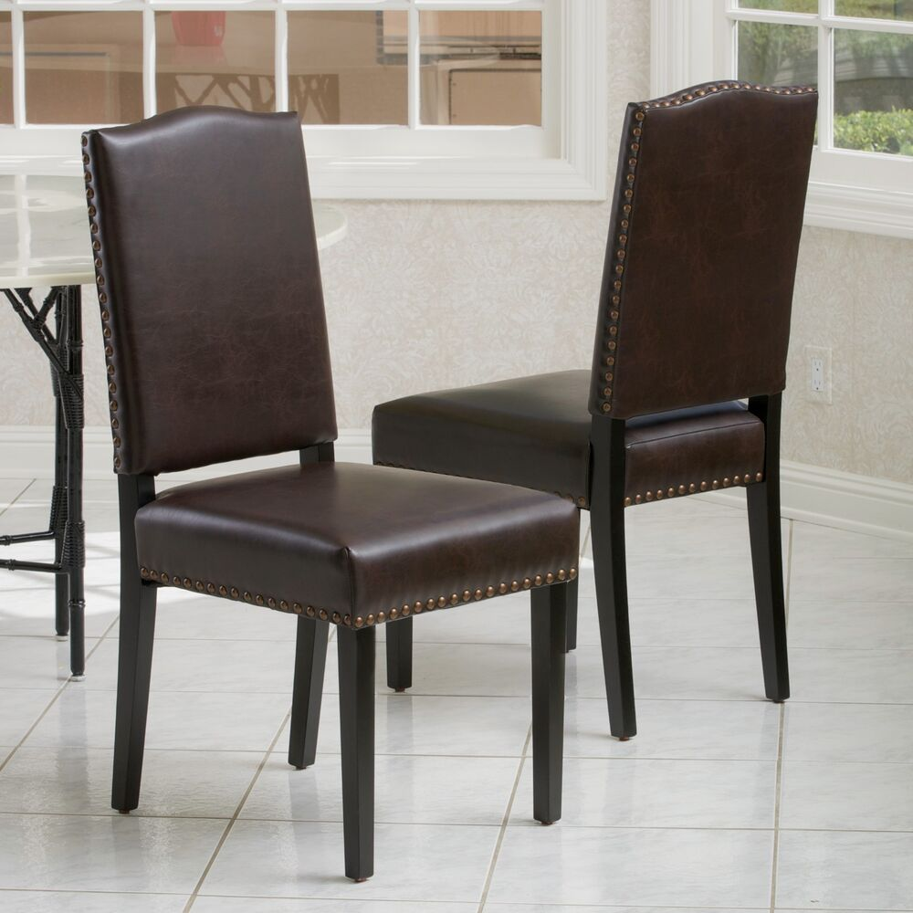 Set of 2 Elegant Design Brown Leather Dining Chairs w  : s l1000 from www.ebay.com size 1000 x 1000 jpeg 97kB