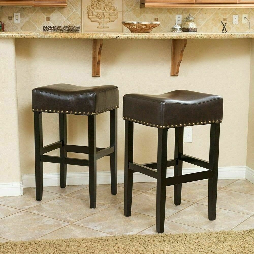 Set of 2 Backless Brown Leather Counter Height Stools w/ Brass ...