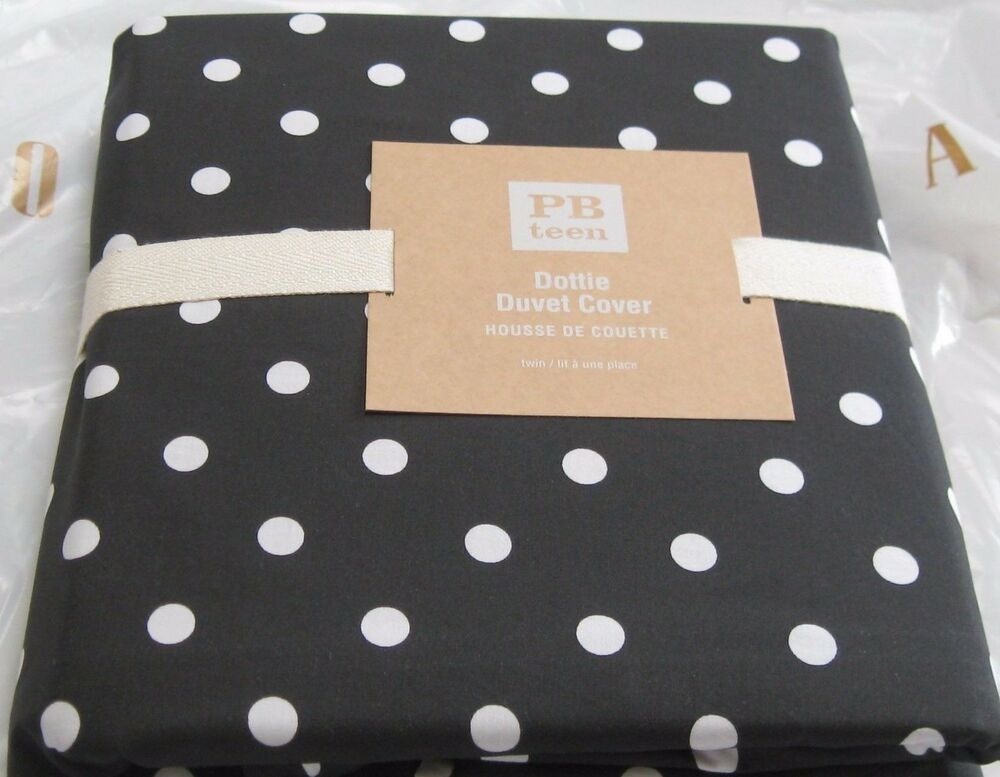 pottery barn teen dottie twin duvet cover black white polka dot tonal nip ebay. Black Bedroom Furniture Sets. Home Design Ideas