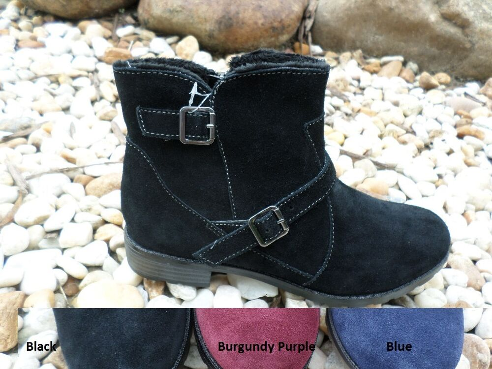 sporto ankle suede w buckle detail winter boots faux fur