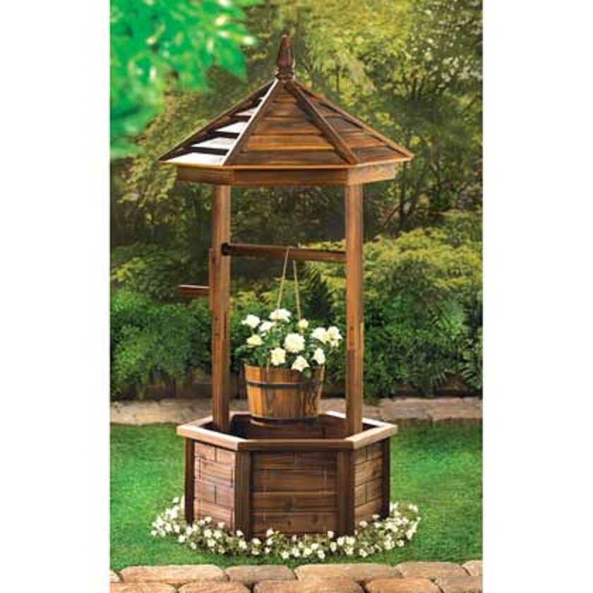 Large wood wishing well country flower plant pot stand for Garden wishing well designs