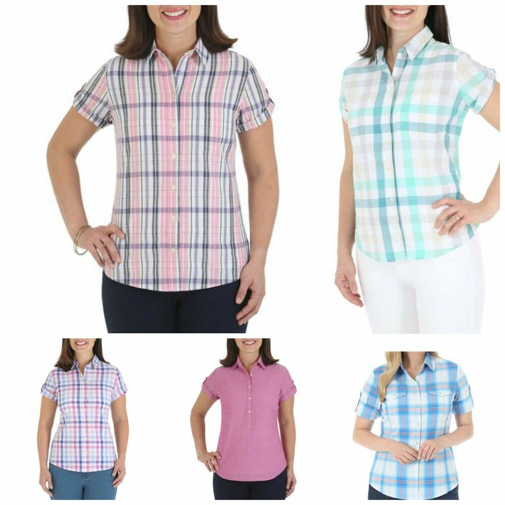 Riders By Lee Woven Short Sleeve Shirt Cotton Button Down Top Plaid Slimming | eBay