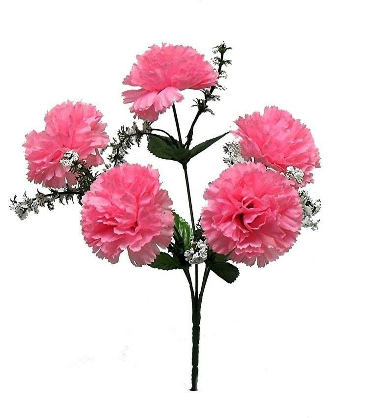 Pink carnations wedding bouquet centerpieces silk