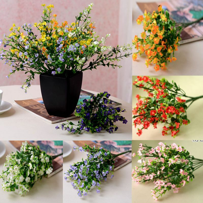 Artificial 6 branches fake silk gypsophila flower bouquet for Artificial flowers for wedding decoration