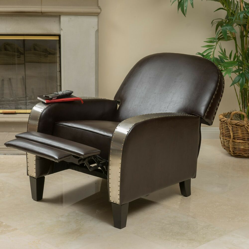 Living room brown leather metal nailhead accent recliner for Metal living room chairs