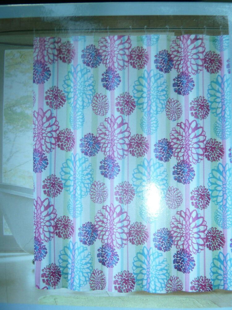 Pink Blue Large Floral Themed Fabric Shower Curtain 72 W X 72 L New Ebay