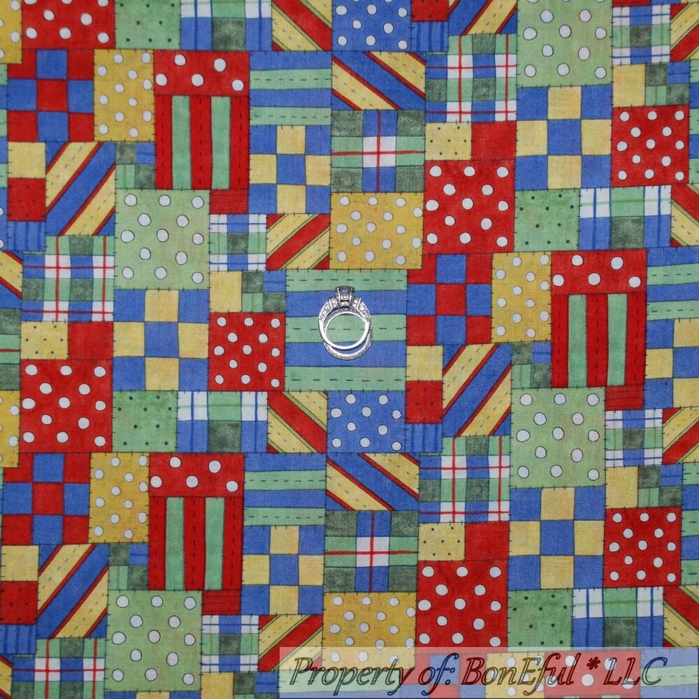 Plaid Baby Quilt: BonEful Fabric FQ Cotton Quilt Red White Blue Green Yellow