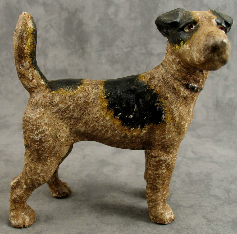 Airedale wire haired fox terrier dog cast iron heavy doorstop bank statue ebay - Cast iron dog doorstop ...