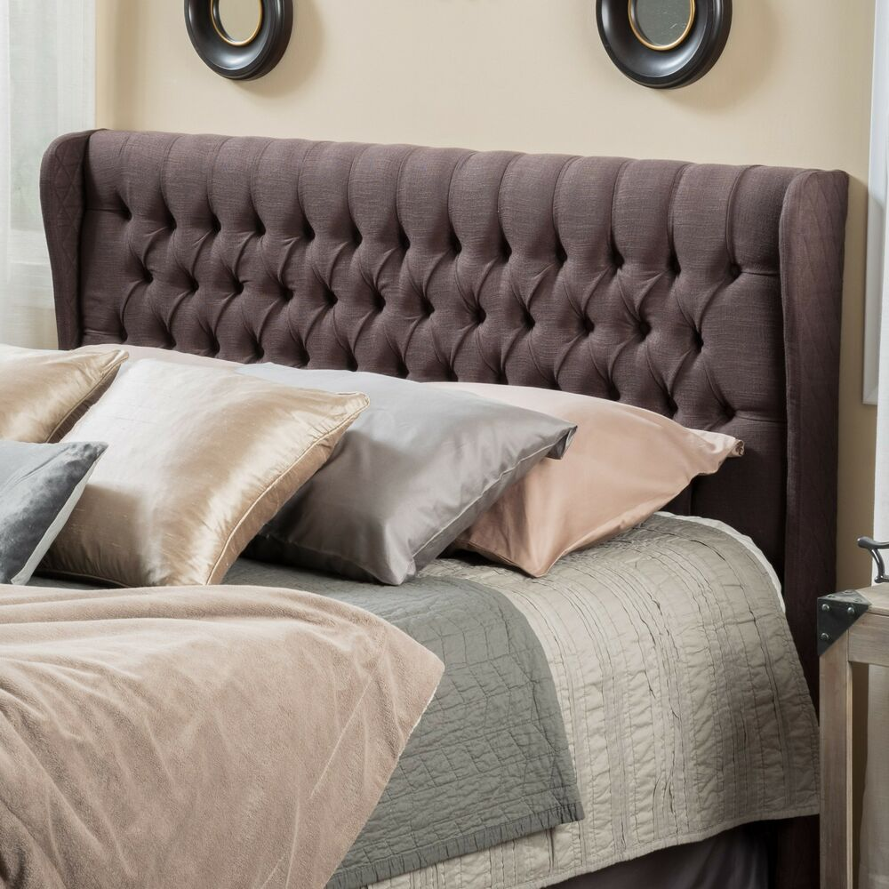queen to full size bed wingback fabric headboard w button tufted accents ebay. Black Bedroom Furniture Sets. Home Design Ideas