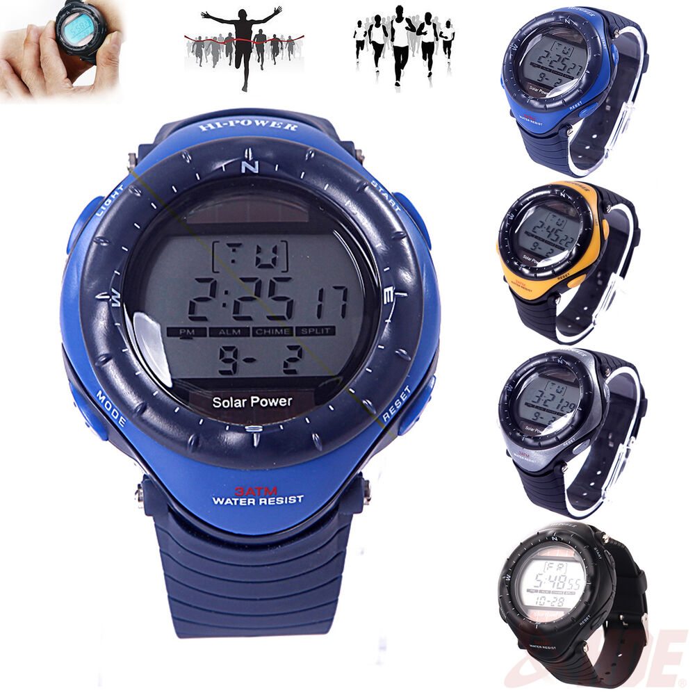 Waterproof multi functional solar powered digital chronograph sport wrist watch ebay for Solar power watches
