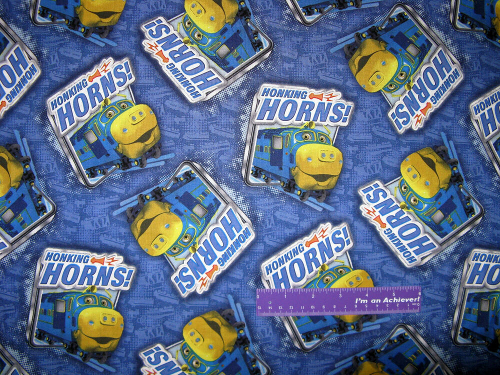 Chuggington honking horns brewster train blue cotton for Train fabric by the yard