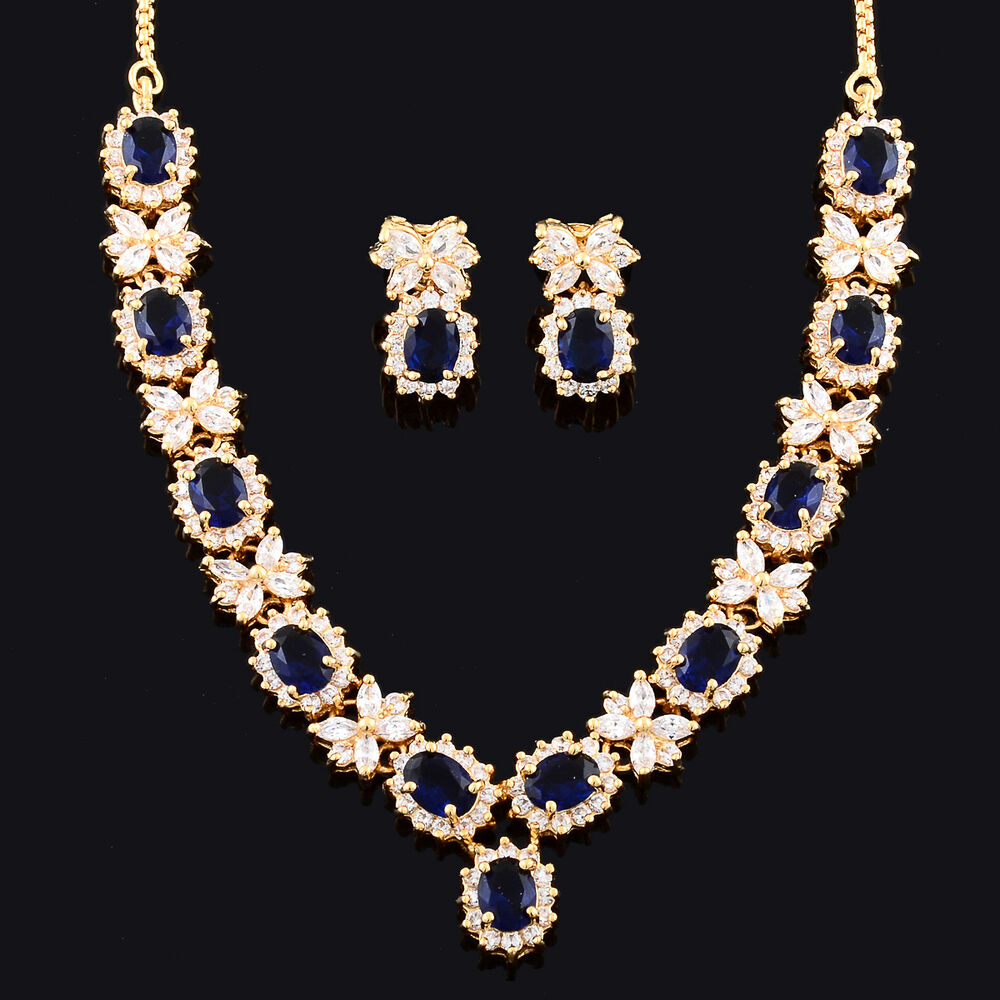 sapphire necklace and earrings set set royal blue sapphire 18k yellow gold plated 5136