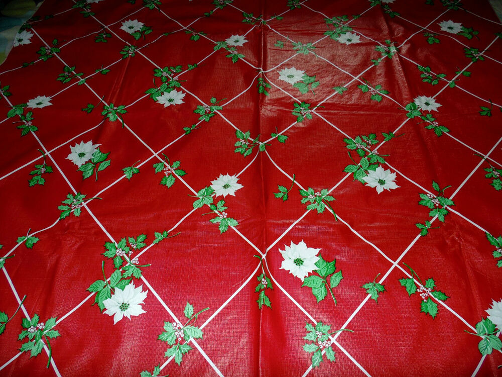 Vintage Christmas Flannel Back Vinyl Tablecloth Red ...