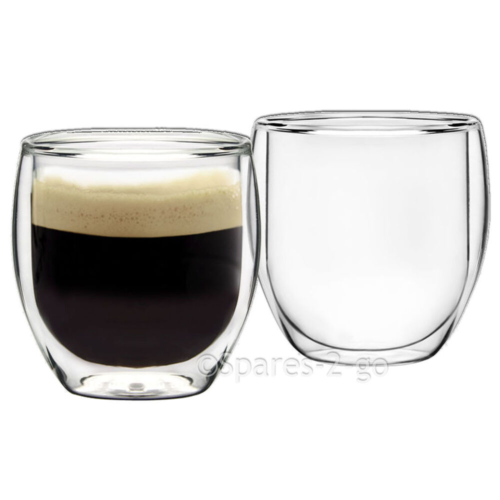 Espresso Coffee Glass ~ Double walled thermal shot coffee glass tumblers espresso