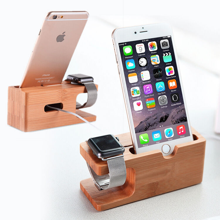 iphone charging station bamboo wood charging dock station charger holder stand for 2345